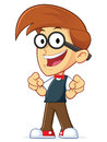 Nerd geek pointing finger point clipart picture of a cartoon character Stock Images