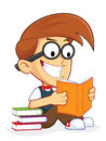 Nerd geek reading book clipart picture of a cartoon character Royalty Free Stock Photo