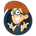 Nerd geek with two gun finger gesture clipart picture of a cartoon character Royalty Free Stock Photography