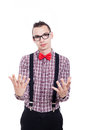 Nerd gesturing man isolated on white background Royalty Free Stock Image