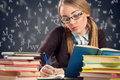Nerd girl working homework Royalty Free Stock Photo