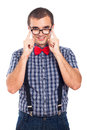 Nerd man in eyeglasses Stock Photo