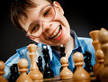 Nerd play chess Royalty Free Stock Image
