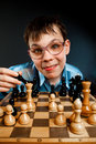 Nerd play chess Royalty Free Stock Photo