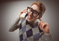 Nerd student old mobile phone Royalty Free Stock Photography