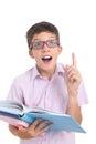 Nerdy boy with books Royalty Free Stock Photo