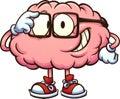 Nerdy cartoon brain with glasses