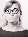 Nerdy girl pissed off. Royalty Free Stock Photo