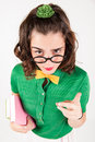 Nerdy girl telling someone off. Royalty Free Stock Photo