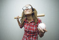 Nerdy woman love baseball vintage portrait Stock Photography