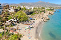 Nerja beach, famous touristic town in costa del sol, Málaga, Spain. Royalty Free Stock Photo