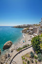 Nerja beach, famous touristic town in costa del sol, Málaga, Andalusia, Spain. Royalty Free Stock Photo