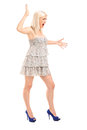 Nervous blond female shouting Royalty Free Stock Photos