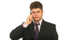 Nervous business man by phone mobile Royalty Free Stock Photos