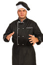 Nervous chef male gesticulate with hands isolated on white background Royalty Free Stock Photography