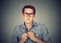 Nervous introvert man feels awkward Royalty Free Stock Photo