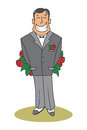 Nervous man hiding a big bouquet of roses vector illustration who is behind his back Royalty Free Stock Image