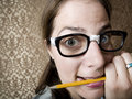 Nervous Nerdy Woman Royalty Free Stock Photo