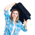 Nervous traveller woman with luggage Royalty Free Stock Image