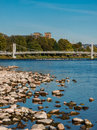 Ness bridge spans the river ness inverness highlands scotland with bank church in background area in foreground Royalty Free Stock Photos