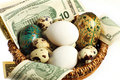 Nest egg in one basket Royalty Free Stock Photography