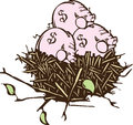Nest eggs woodcut style image of a with piggy banks instead of Royalty Free Stock Images