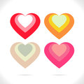Nested hearts four heart combination in beautiful colors Royalty Free Stock Photography