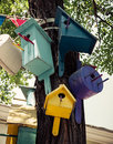 Nesting box colorful boxes on a tree Royalty Free Stock Images