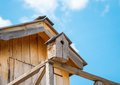 Nesting box small wooden house for living birds Stock Image