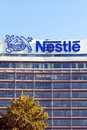 Nestle office building frankfurt germany july with huge company sign of swiss multinational food and beverage company s a Stock Image