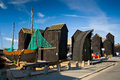 Net huts in Hastings, UK. Royalty Free Stock Photo