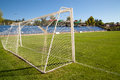 Net soccer goal football green grass Royalty Free Stock Photos