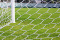 Net soccer goal football green grass field Royalty Free Stock Photography