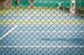 Net steel net of green tennis court Stock Images