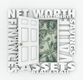 Net Worth Financial Value Total Wealth Assets Debts Open Door Wo Royalty Free Stock Photo