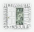 Net Worth Financial Value Total Wealth Assets Debts Open Door Words Royalty Free Stock Photo