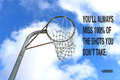 stock image of  Netball goal ring and net against a blue sky and white clouds with a quote