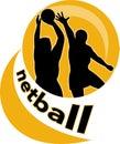 Netball player shooting ball Royalty Free Stock Photo
