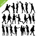 Netball player silhouettes vector Royalty Free Stock Photo