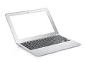 Netbook with white blank screen isolated on white background Royalty Free Stock Image