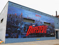 Netflix daredevil mural in williamsburg section in brooklyn new york june is an influential hub of current indie rock Royalty Free Stock Photo