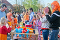The netherlands april festivity children playing on during birthday of dutch queen or king in Royalty Free Stock Photos