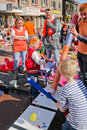 The netherlands april festivity children playing on during birthday of dutch queen or king in Stock Photos