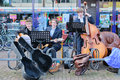 The netherlands april festivity three boys playing music on during birthday of dutch queen or king in Royalty Free Stock Photo