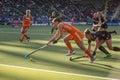 Netherlands beats belgium during the hockey world cup hague june dutch jonker is lifting her stick to control ball player de groof Stock Photography