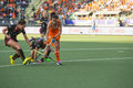 Netherlands beats belgium during the hockey world cup hague june dutch van as is passing defense in preliminary match Royalty Free Stock Image