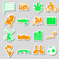 Netherlands country theme color stickers set eps10 Royalty Free Stock Photo