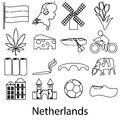 Netherlands country theme outline symbols icons set Royalty Free Stock Photo