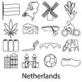 Netherlands country theme outline symbols icons set eps10 Royalty Free Stock Photo