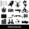 Netherlands country theme symbols icons set eps10 Royalty Free Stock Photo